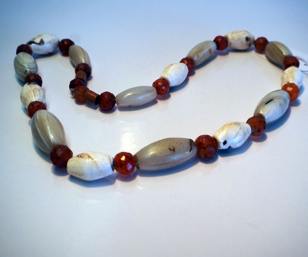 Turkish Jewellery Conch shell, agate & carnelian necklace, from the Naga peopl