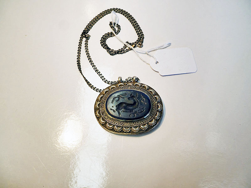 Turkoman Silver & carved stone necklace