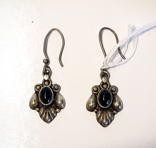 Turkoman silver & garnet earrings
