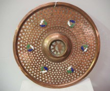 Antique Metal Ottoman Decoration, Enamel & copper grill