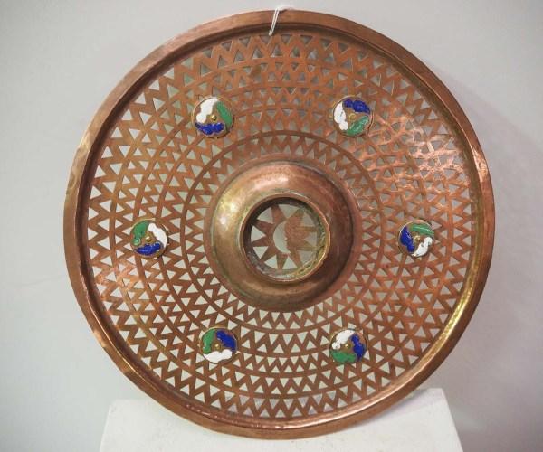 Antique Metal Ottoman Decoration, Enamel & copper grill