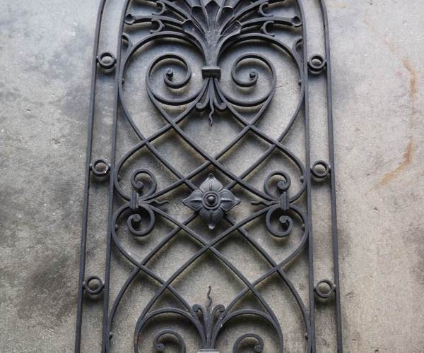 Antique French Fine Quality Vintage Wrought iron Grille Metalwork