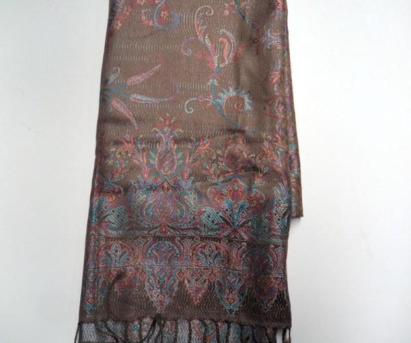 Jacquard loomed silk scarf