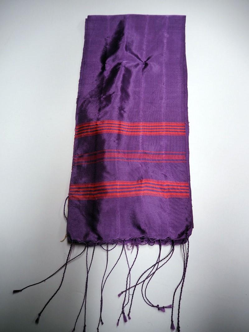 Hand loomed silk purple scarf from Bursa