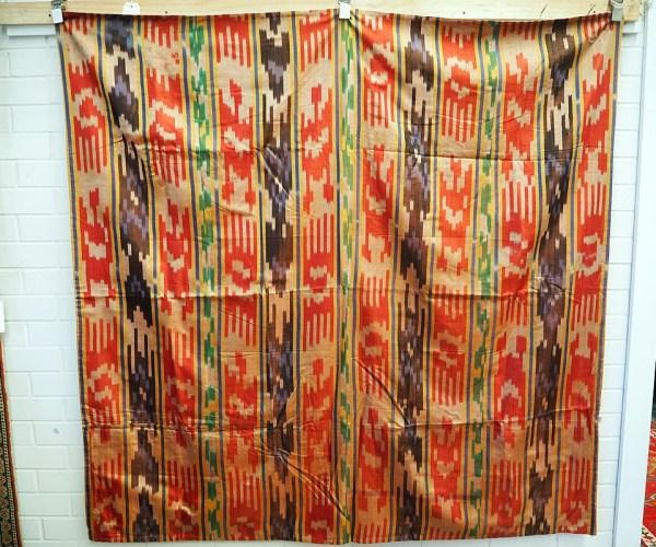 Fine antique hand loomed silk Ikat bead spread c.1930
