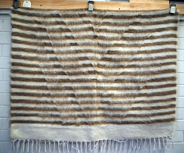 Hand loomed Turkish wool & goats hair on cotton Kilim Blanket from Siirte