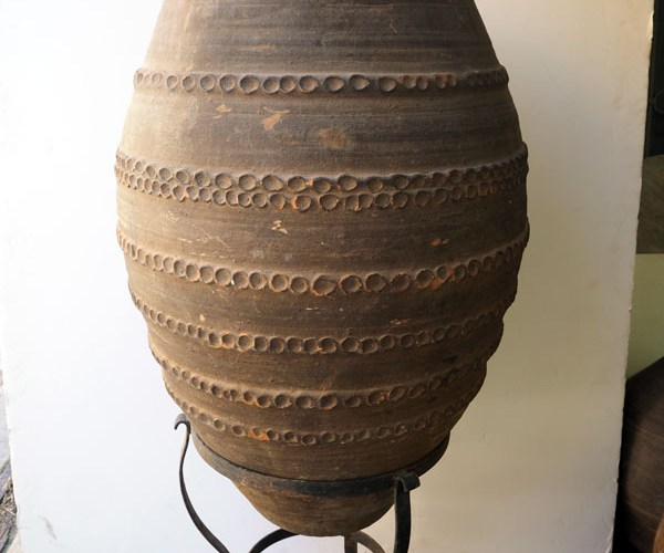 Decorated Terracotta urn from Eastern Anatolian with Metal stand