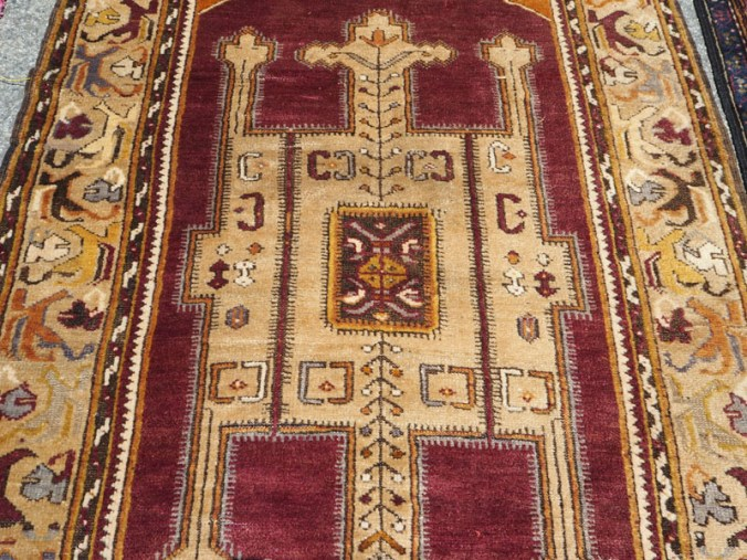 Hand made double knotted wool on wool Turkish carpet from Konya, Armenian, Approximately 70 years old