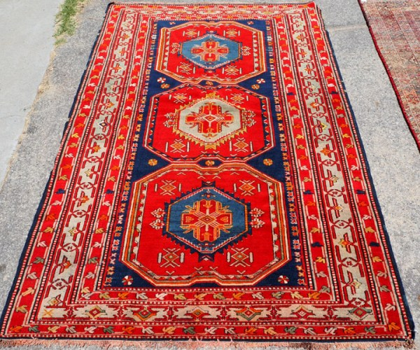 Hand knotted wool on wool Caucasian carpet Kazakh from Daghestan, approximately 60 - 70 years old