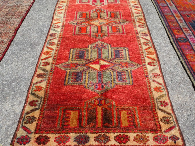 Hand knotted wool on wool Iraqi Kurdosh Herki runner, approximately 40 - 50 years old