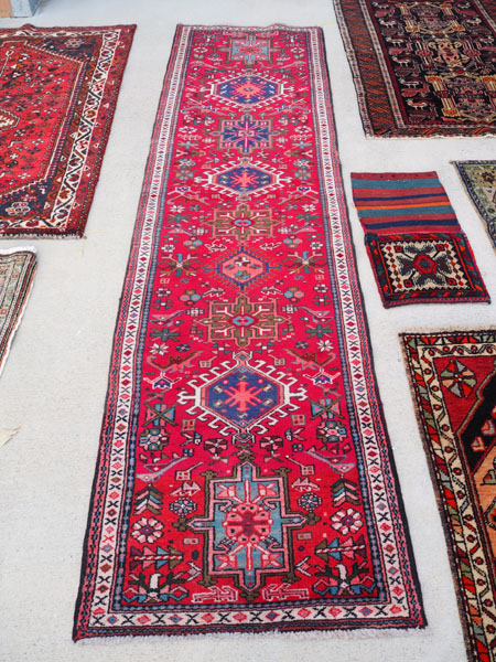 Double knotted hand made wool on wool Turkish runner from Karaca, approximately 60 years old