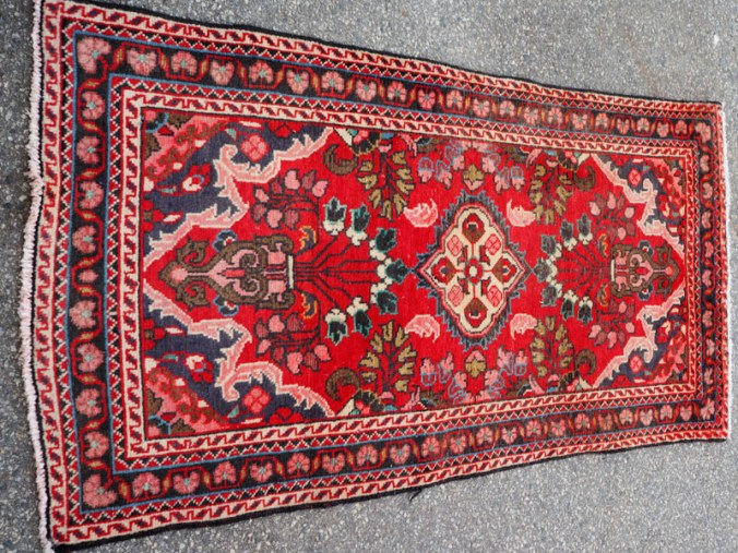 Hand knotted wool on cotton Persian carpet from Hamadan, approximately 60 years old