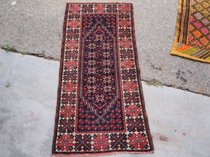 Double knotted hand made wool on wool Turkish carpet from Bergama, approximately 40 years old