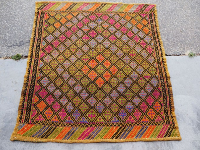 Hand woven wool on wool Turkish embroidered Kilim ' Cicim' from Cannakale, approximately 40 - 50 years old