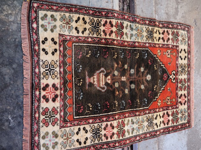 Double knotted hand made wool on wool Turkish carpet from Balekisir, approximately 40 - 50 years old