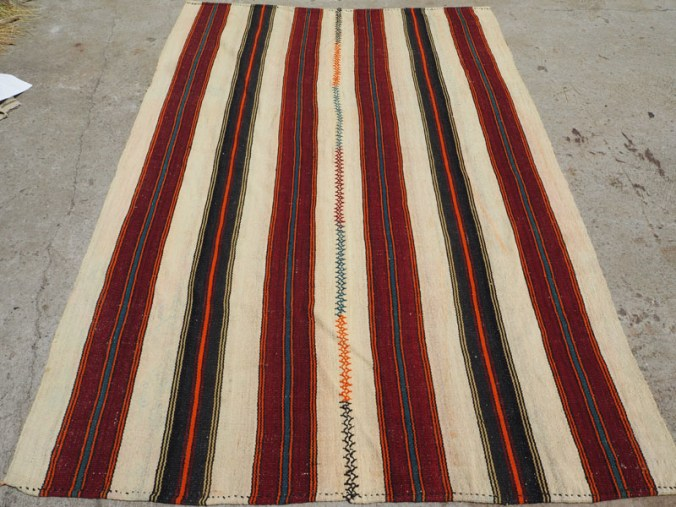 Hand woven wool on wool Turkish kilim, approximately 50 years old from Balekisir