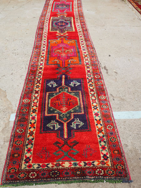 Hand knotted wool on wool Iraqi Herki runner, approximately 30 years old