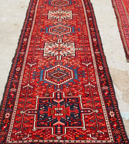 Hand made wool on cotton Persian Runner Karajan, approximately 60 years old