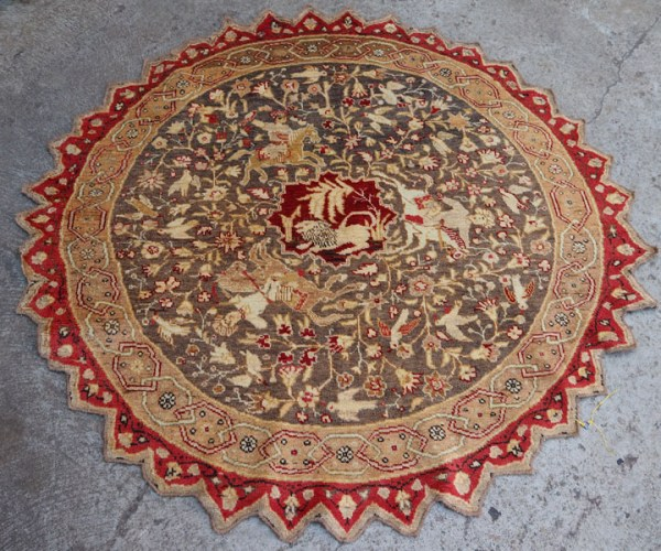 Double knotted hand made wool on wool Anatolian rare, round carpet, approximately 80 - 90 years old