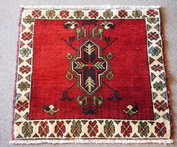 Double knotted wool on wool hand made small Turkish Tavas carpet, approximately 30 - 40 years old