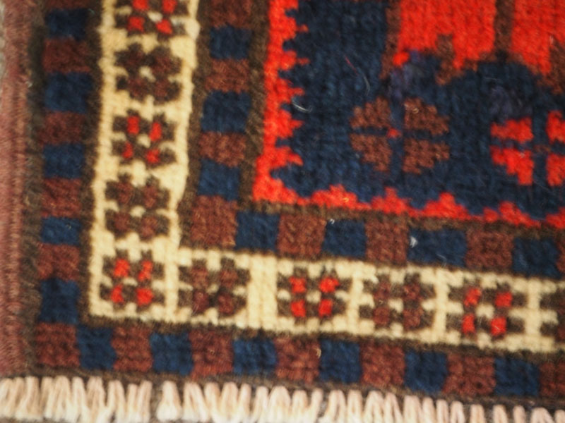 Hand knotted wool on wool small carpet from Bergama, approximately 40 years old