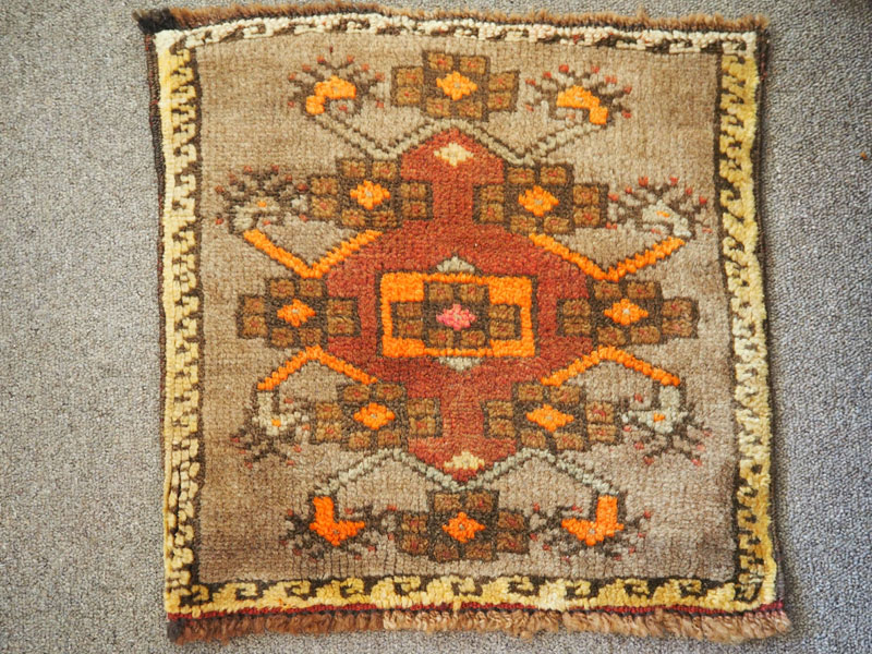 Hand knotted wool on wool Small Turkish table mat, approximately 60 years old