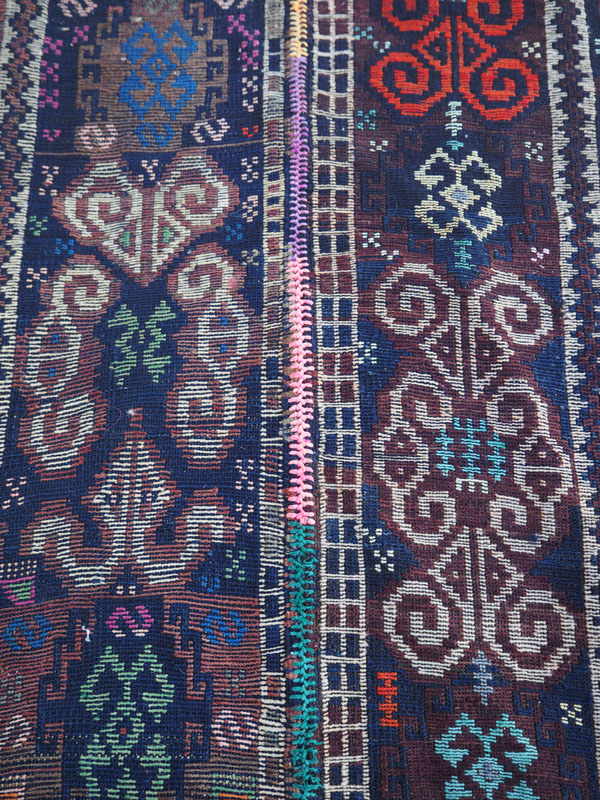 Finely woven Iraqi Kurdish Herki Soumac, approximately 160 years old