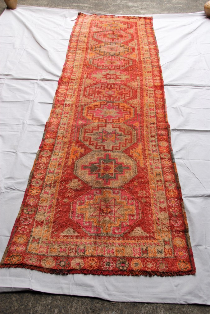 Hand knotted wool on wool Iraqi Kurdish Herki runner approximately 60 years old             3.20 x 0.95 $1,845.00