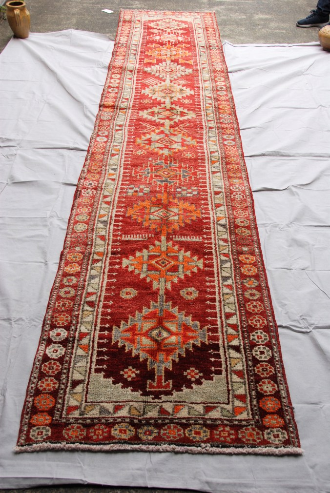 Hand knotted wool on wool Iraqi Kurdish Herki tribe runner approximately 70 years old  4.16 x 0.87 $2,185.00