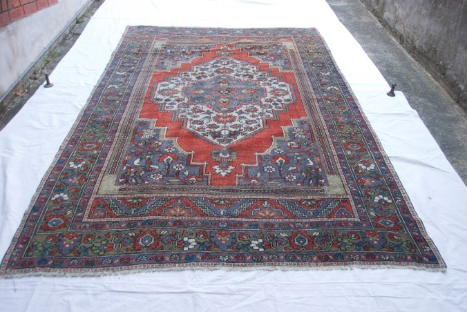 T817 Turkish Taspinar hand double knotted wool on cotton carpet approximately 60 years old 3.07 x 1.94 $1,985.00