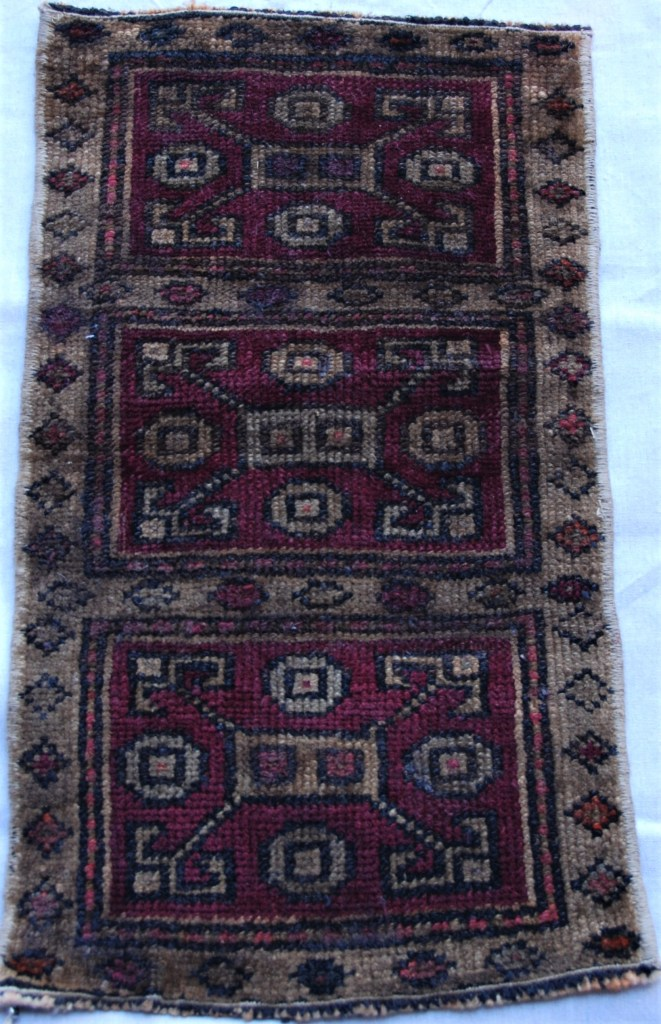 T752 Adana double hand knotted wool on wool small carpet approximately 60 years old 0.62 x 0.34 $135.00
