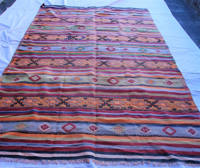 T783 Turkish Balekisir hand knotted wool on wool kilim approximately 50 years old 3.19 x 1.75 $895.00
