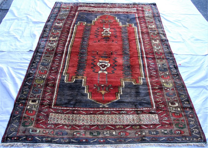 T798 Turkish Yuruk carpet hand double knotted wool on cotton carpet approximately 60 years old 2.26 x 1.46 $1,495.00