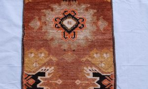 Turkish Ortakoy hand woven and knotted wool on wool carpet 70 years old 0.74 x 0.40 $295