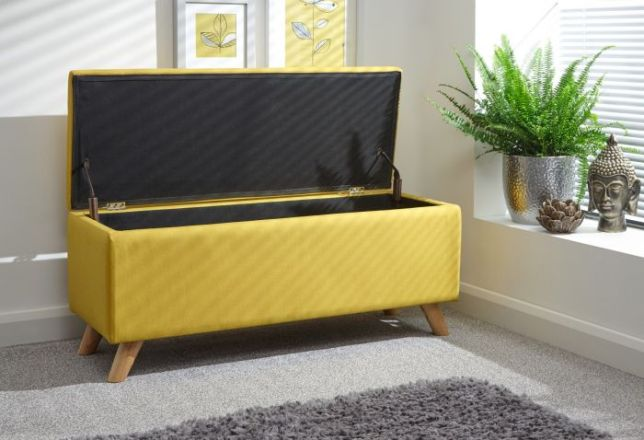 Mustard rectangular ottoman with storage space
