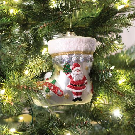 kennedy white house christmas collection white stocking glass ornament by fitz floyd - White House Christmas Ornament