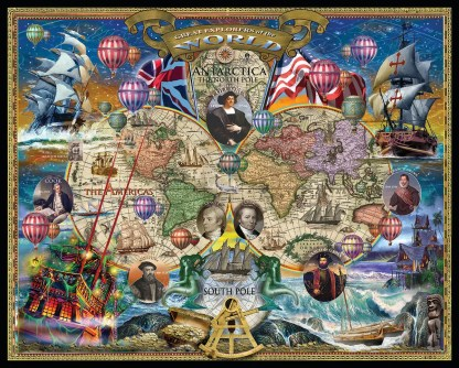 Great Explorers World Map 1000pc by White Mountain Puzzles - 1366PZ