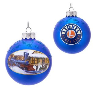 Lionel Train Station 80 mm Glass Ball Ornament