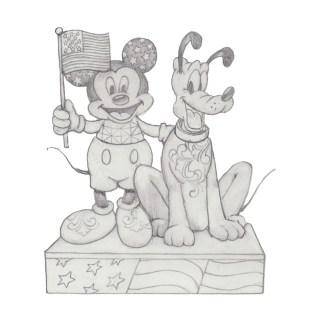 Otto's Granary Mickey & Pluto Patriotic by Jim Shore