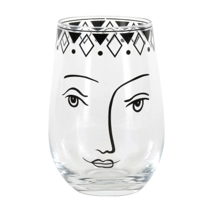 Otto's Granary Pen & Ink Female Face Glass by Izzy & Oliver