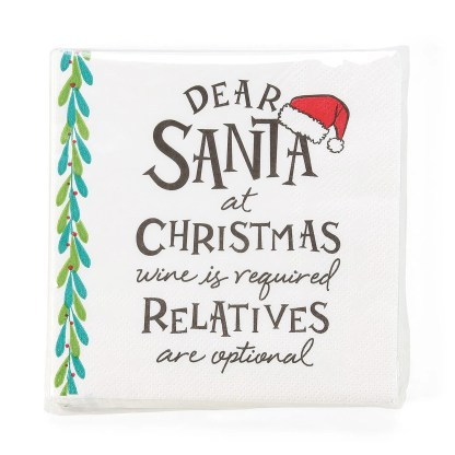 Otto's Granary Dear Santa WineIs Napkins Entertainment by Izzy and Oliver