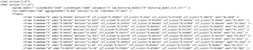 VMAF using FFMpeg