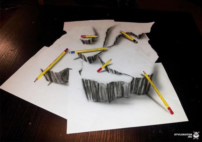 трехмерный рисунок карандашом: глыбы и карандаши