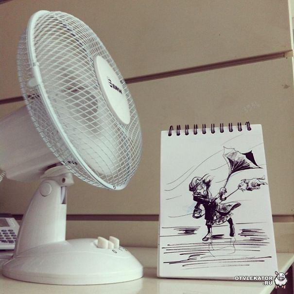 рисунок: женщину уносит ветром