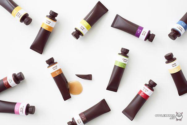 Шоколадные тюбики с краской