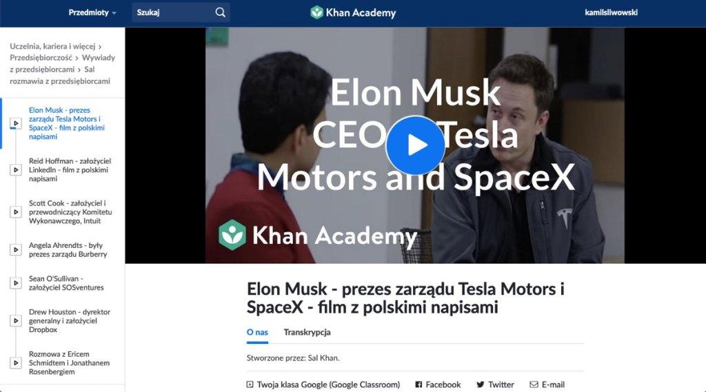 Zrzut ekranu: treść kursu elearningowego akademi khana o przedsiębiorczości