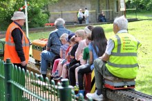 The experimental rail in Marlay Park... the kids, big and small enjoy the outing!