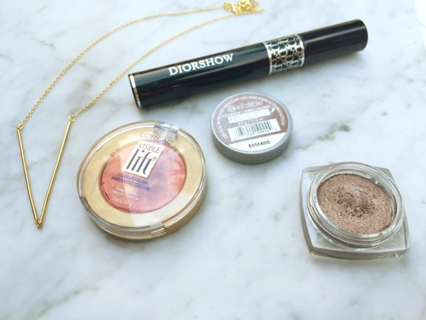 Oui Emmy Favorites LOreal Visible Lift Cream Blush Infallible Eyeshadow Dior Diorshow mascara Gorjana gold necklace