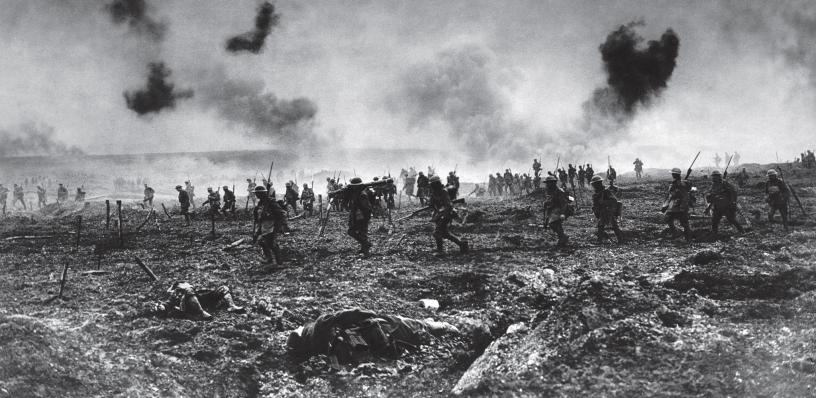 29th Battalion Canadian Division going into action at The Battle of Vimy Ridge, April 1917, under heavy shell fire. Courtesy of Paul Reed at www.greatwarphotos.com