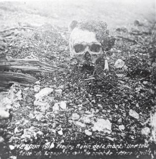 One fo the shocking sights troops faced on the Verdun battlefields of 1916, this one from the 'Ravin de la Mort' - The Ravine of Death. Courtesy of Paul Reed at www.greatwarphotos.com